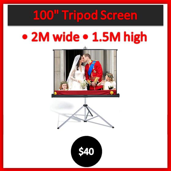 100 inch tripod screen hire Melbourne