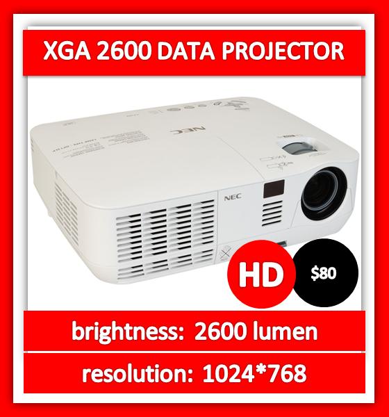 XGA 2600 lumen HD data projector hire