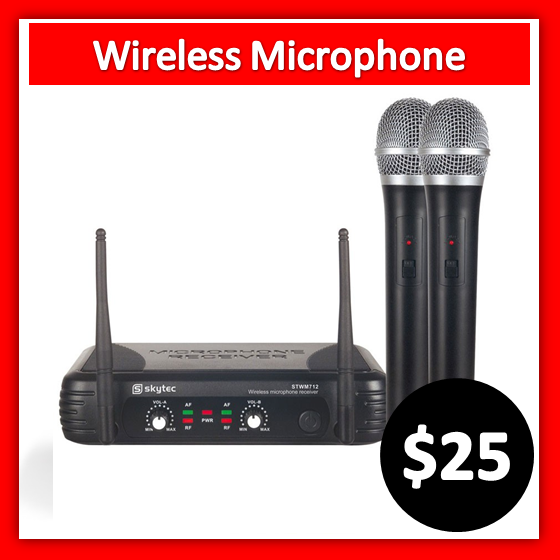 25 dollar for wireless microphone with two handhelds