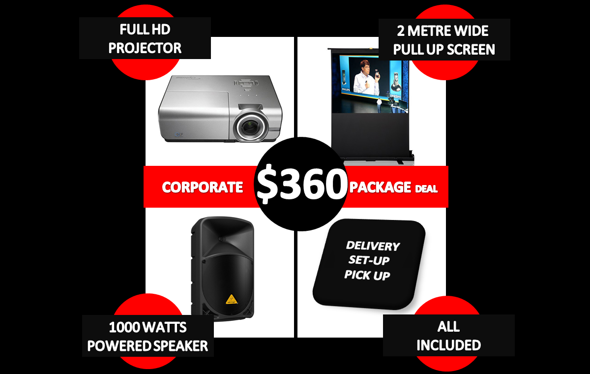 360 dollar corporate package deal of projector hire