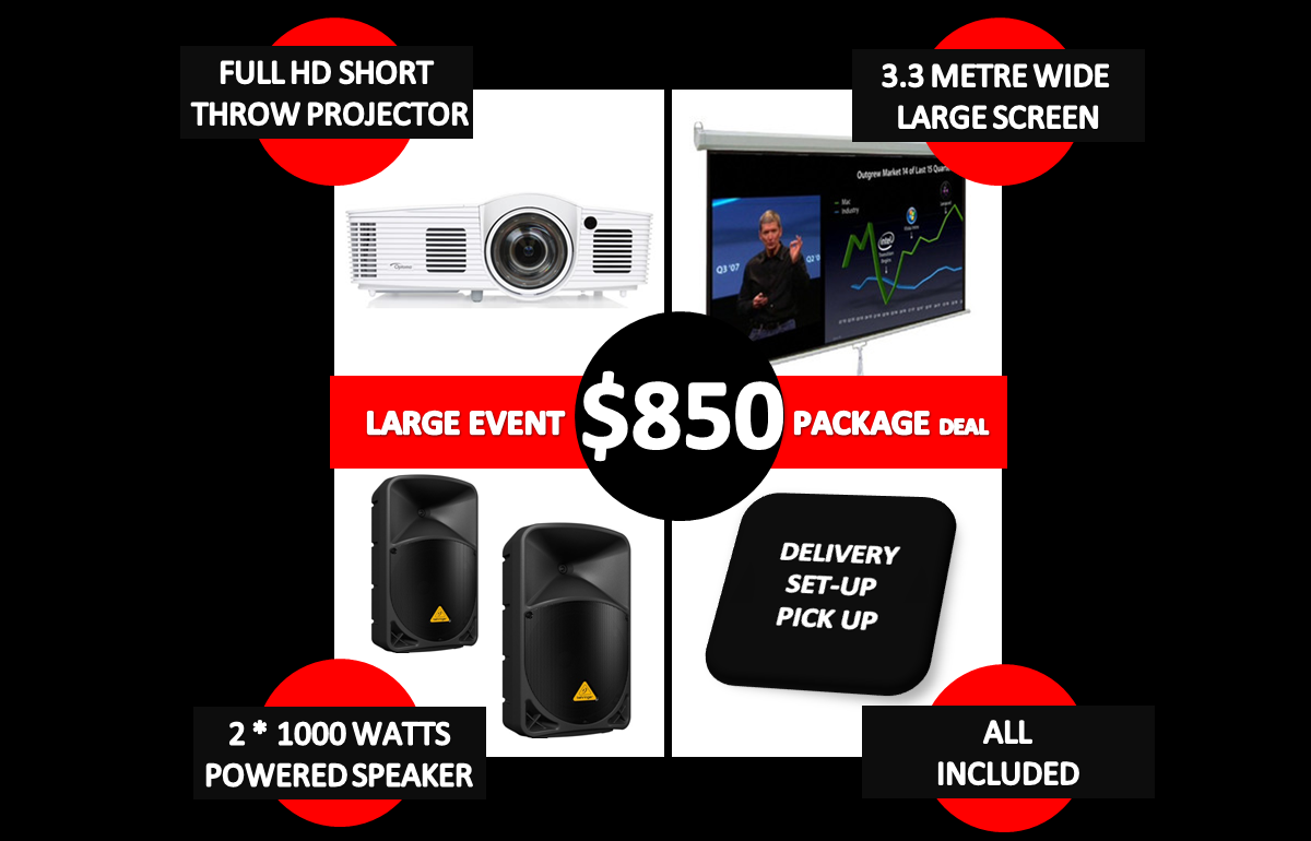 850 dollar large event package deal of projector hire
