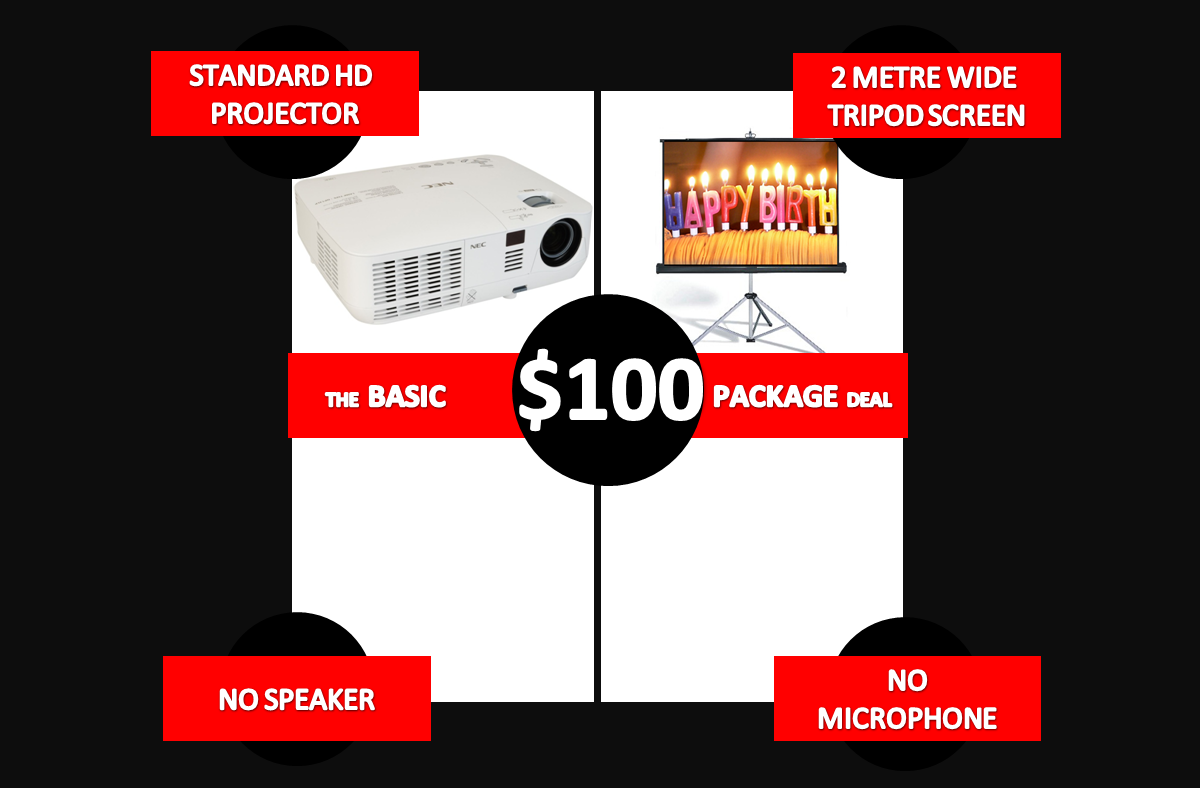 the basic projector package deal hire Melbourne no speaker no microphone hire