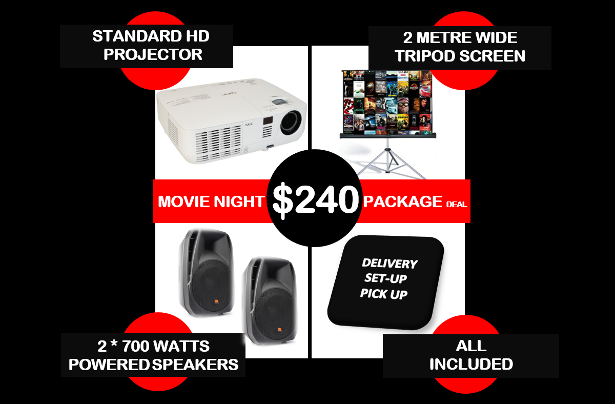 movie night package deal hire Melbourne 240 dollar